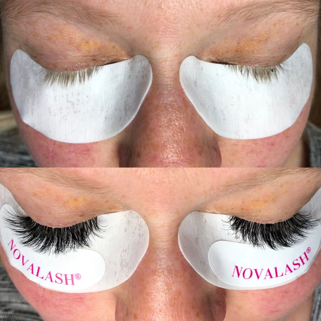 before and after eyelash extensions three