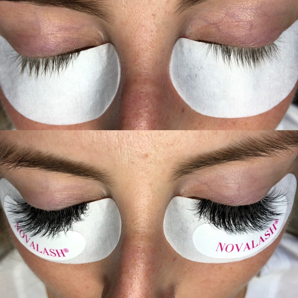 before and after lash extensions one
