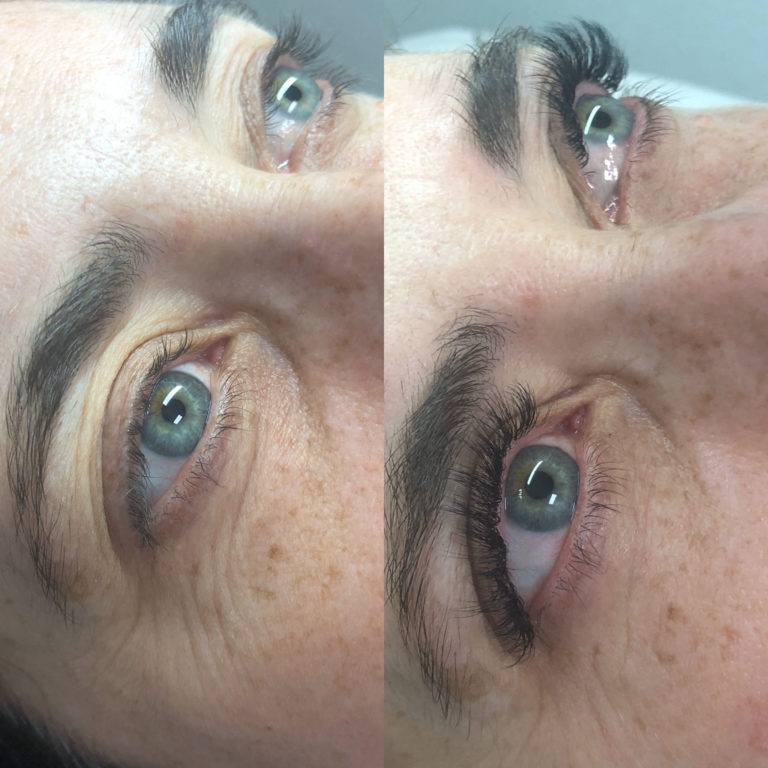 before and after lashes by Andrea Caban