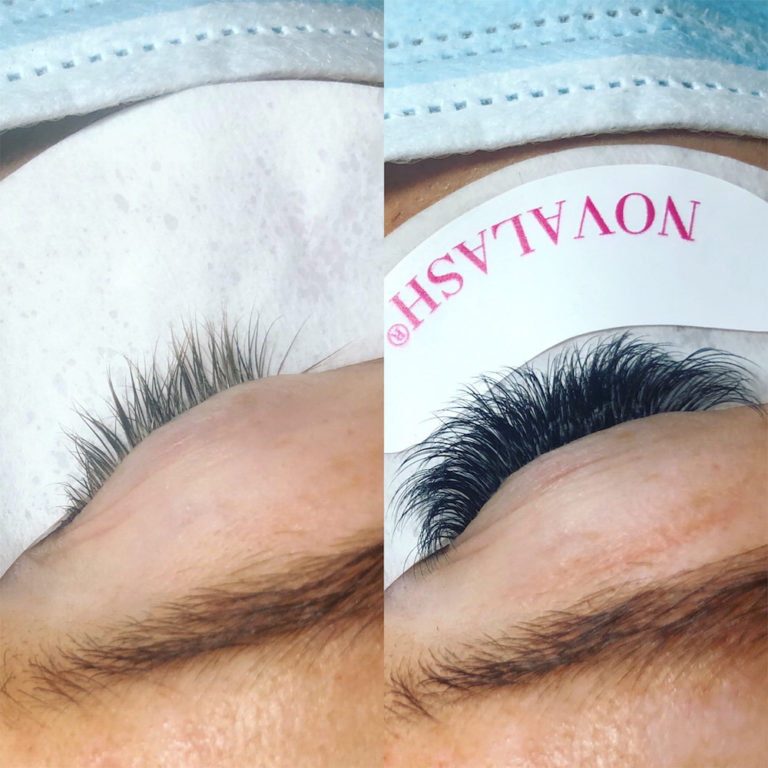 before and after lash extensions with novalash under-eye sticker