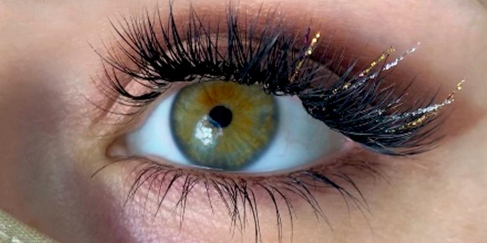 glittery eyelash extensions