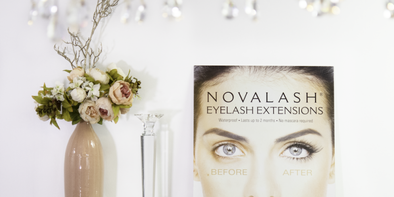 NovaLash eyelash extensions flowers, vase, and candlestick